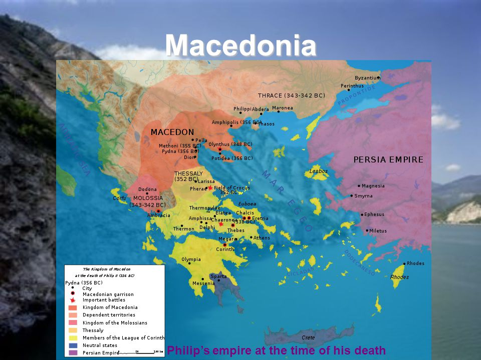 Macedonia Philip's empire at the time of his death