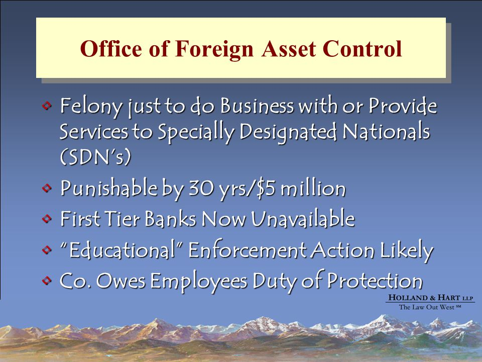 Office of Foreign Asset Control Felony just to do Business with or Provide Services to Specially Designated Nationals (SDN's)Felony just to do Business with or Provide Services to Specially Designated Nationals (SDN's) Punishable by 30 yrs/$5 millionPunishable by 30 yrs/$5 million First Tier Banks Now UnavailableFirst Tier Banks Now Unavailable Educational Enforcement Action Likely Educational Enforcement Action Likely Co.
