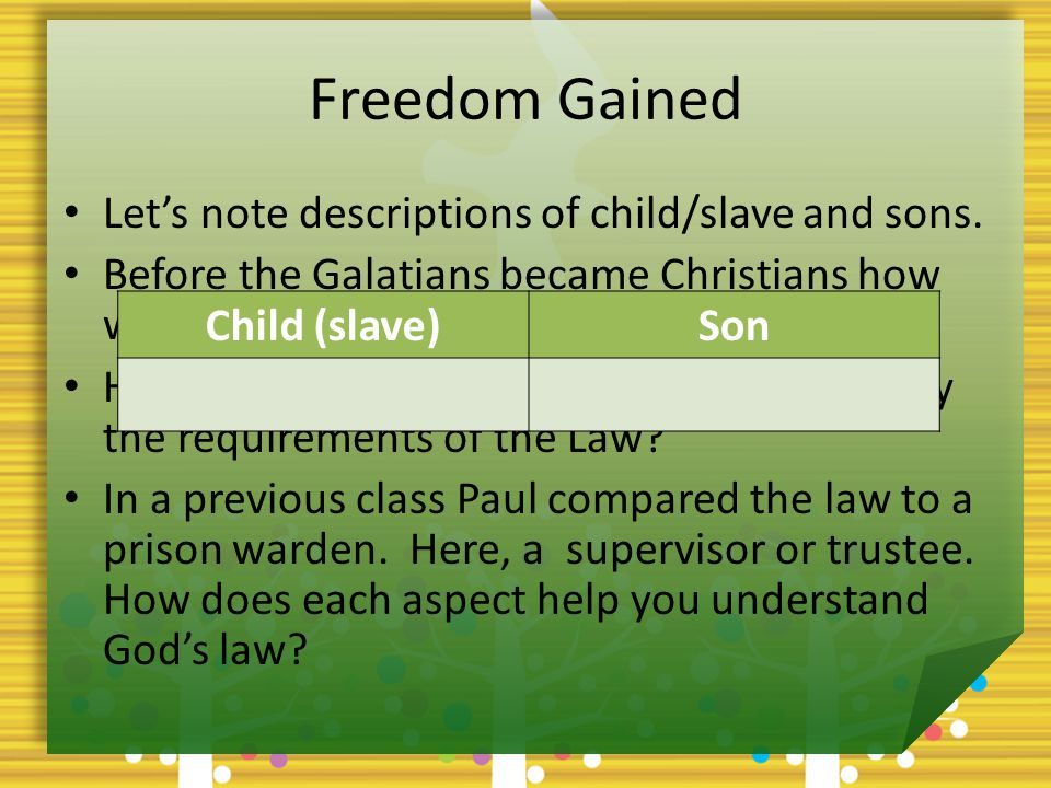 Freedom Gained What did God finally do to release us from our slavery.