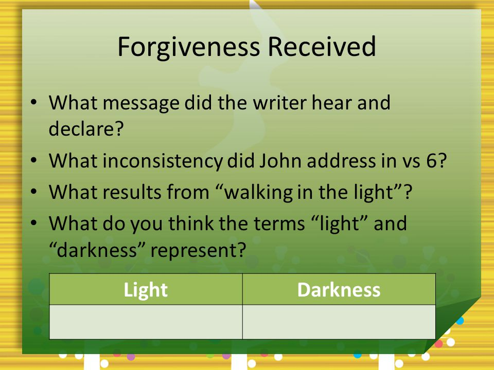 Forgiveness Received What message did the writer hear and declare.