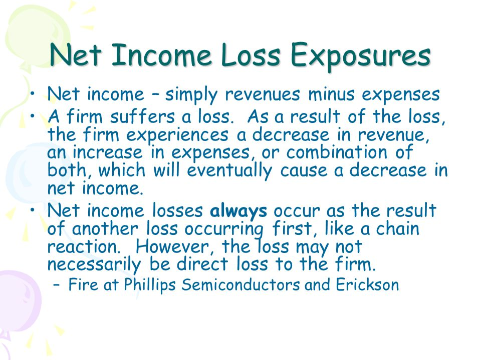 Net Income Loss Exposures Net income – simply revenues minus expenses A firm suffers a loss.