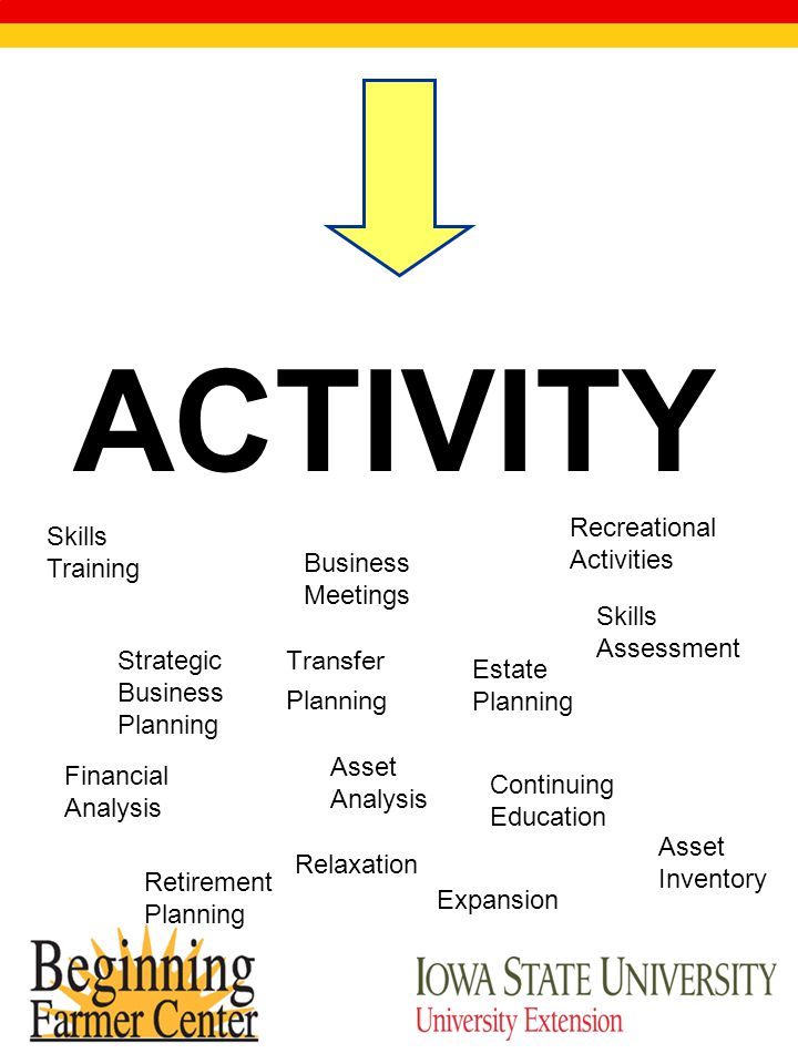 ACTIVITY Strategic Business Planning Estate Planning Retirement Planning Expansion Financial Analysis Asset Inventory Asset Analysis Skills Assessment Skills Training Continuing Education Business Meetings Recreational Activities Relaxation Transfer Planning