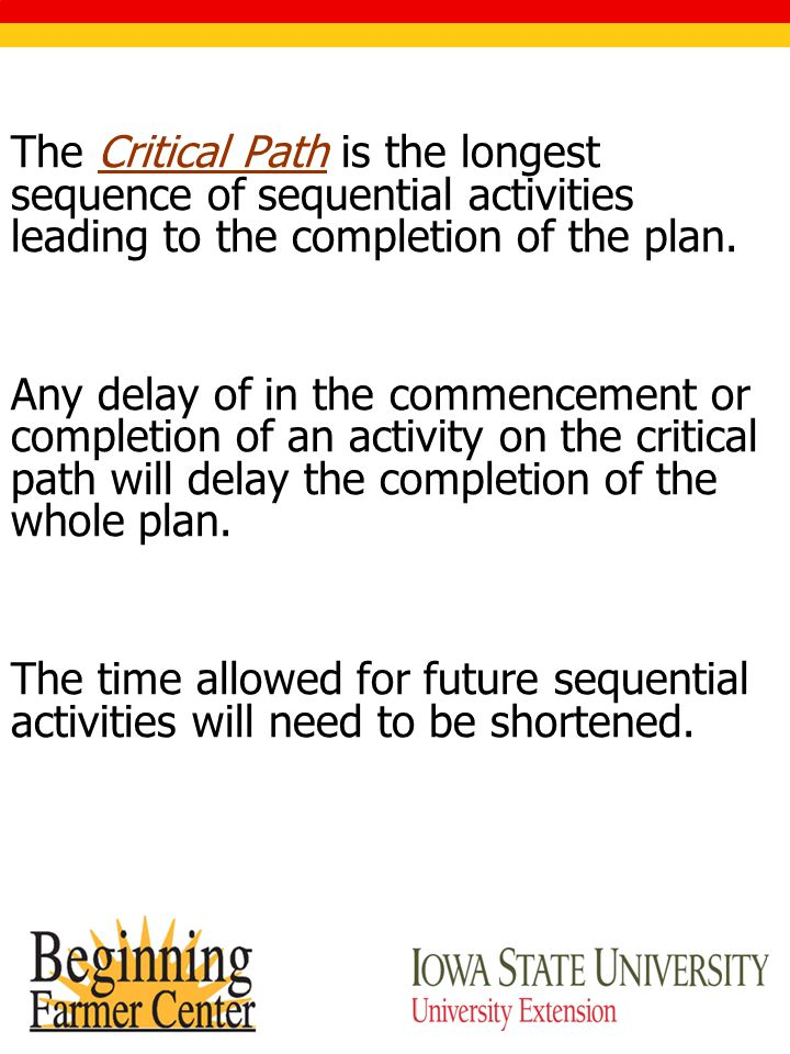 The Critical Path is the longest sequence of sequential activities leading to the completion of the plan.
