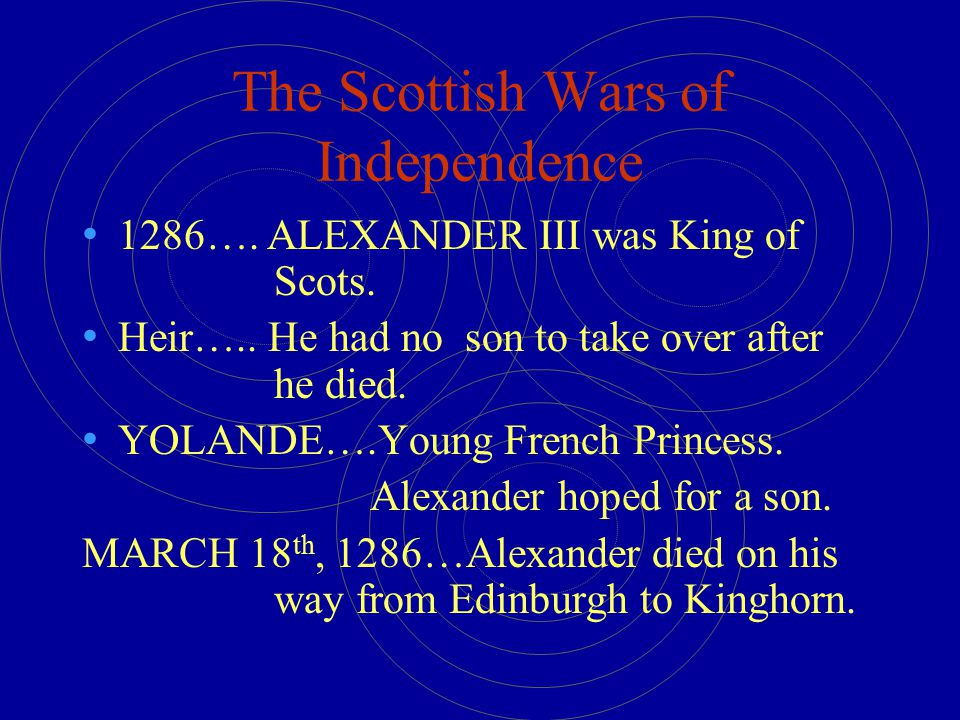 The Scottish Wars of Independence 1286….ALEXANDER III was King of Scots.