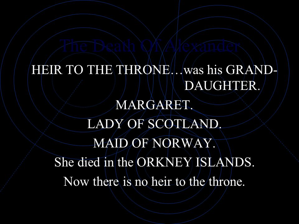 The Death Of Alexander HEIR TO THE THRONE…was his GRAND- DAUGHTER.