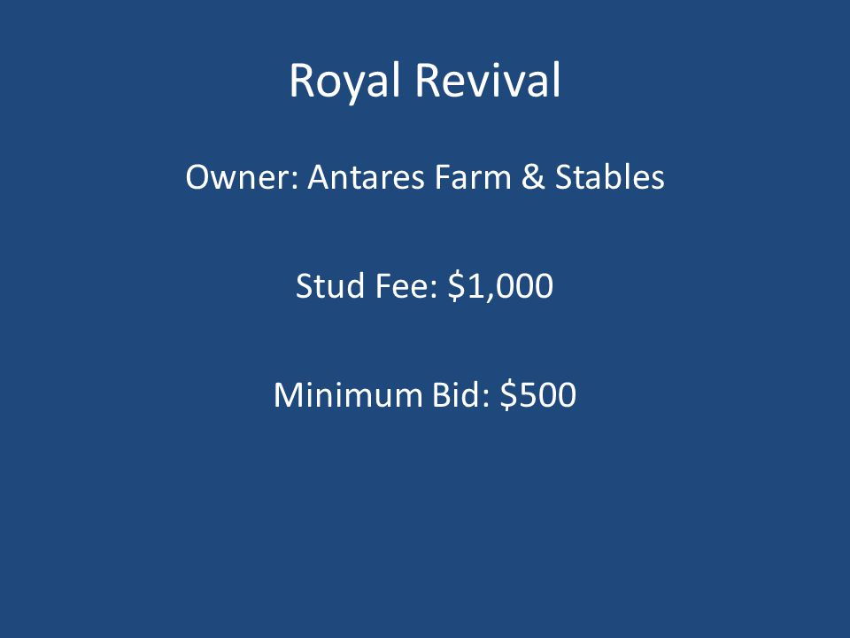 Royal Revival Owner: Antares Farm & Stables Stud Fee: $1,000 Minimum Bid: $500