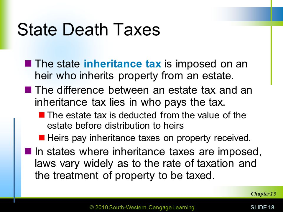 © 2010 South-Western, Cengage Learning SLIDE 18 Chapter 15 State Death Taxes The state inheritance tax is imposed on an heir who inherits property fro