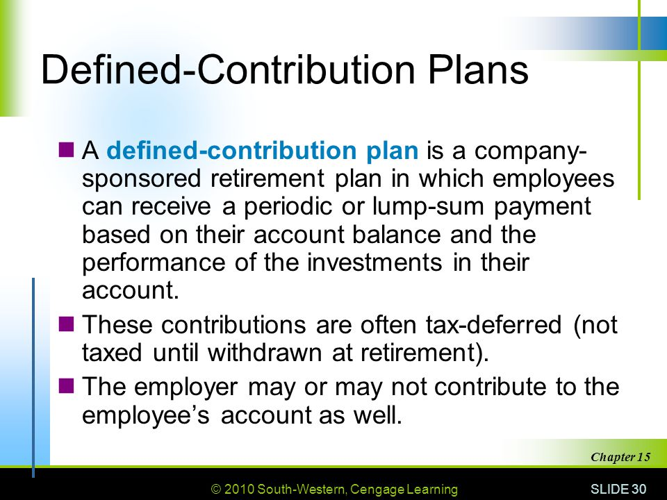 © 2010 South-Western, Cengage Learning SLIDE 30 Chapter 15 Defined-Contribution Plans A defined-contribution plan is a company- sponsored retirement plan in which employees can receive a periodic or lump-sum payment based on their account balance and the performance of the investments in their account.