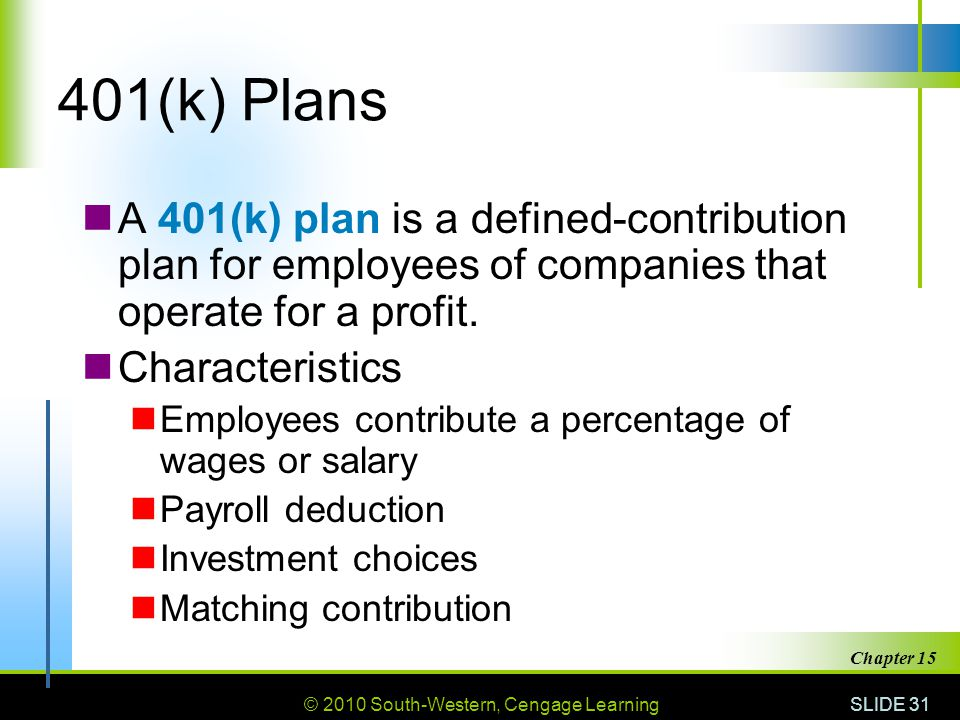 © 2010 South-Western, Cengage Learning SLIDE 31 Chapter 15 401(k) Plans A 401(k) plan is a defined-contribution plan for employees of companies that o