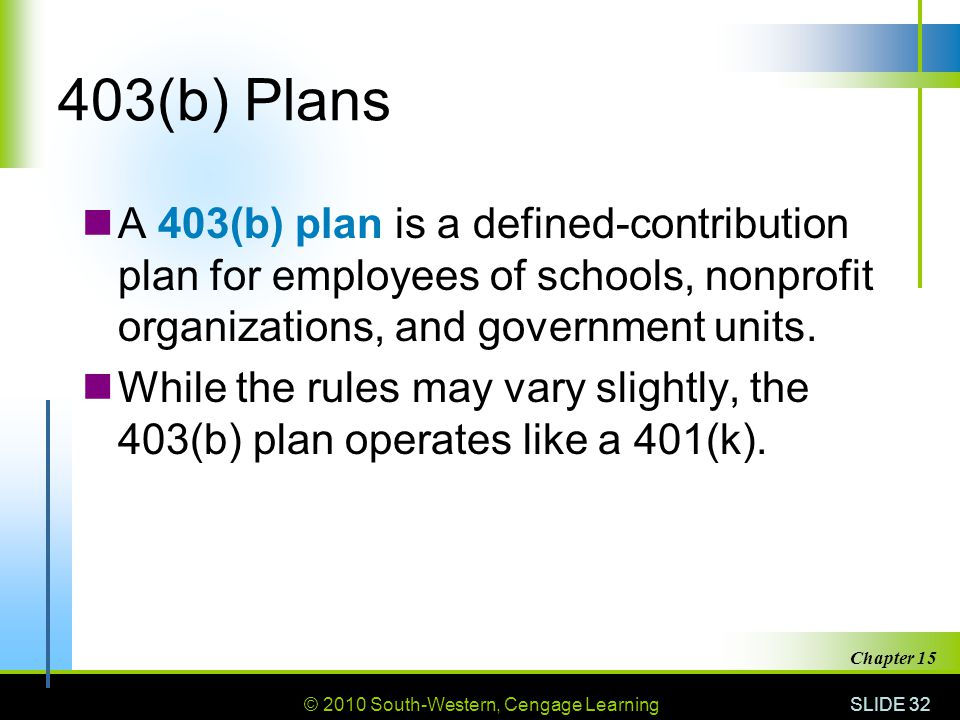 © 2010 South-Western, Cengage Learning SLIDE 32 Chapter 15 403(b) Plans A 403(b) plan is a defined-contribution plan for employees of schools, nonprofit organizations, and government units.