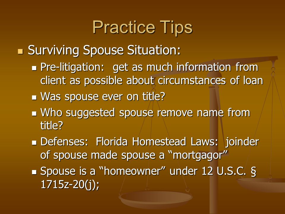 Practice Tips Surviving Spouse Situation: Surviving Spouse Situation: Pre-litigation: get as much information from client as possible about circumstances of loan Pre-litigation: get as much information from client as possible about circumstances of loan Was spouse ever on title.