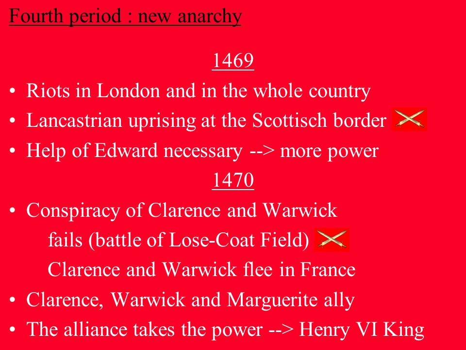 Fourth period : new anarchy 1469 Riots in London and in the whole country Lancastrian uprising at the Scottisch border Help of Edward necessary --> more power 1470 Conspiracy of Clarence and Warwick fails (battle of Lose-Coat Field) Clarence and Warwick flee in France Clarence, Warwick and Marguerite ally The alliance takes the power --> Henry VI King