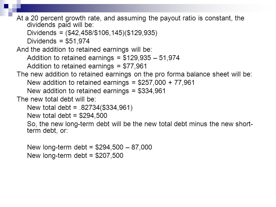 At a 20 percent growth rate, and assuming the payout ratio is constant, the dividends paid will be: Dividends = ($42,458/$106,145)($129,935) Dividends = $51,974 And the addition to retained earnings will be: Addition to retained earnings = $129,935 – 51,974 Addition to retained earnings = $77,961 The new addition to retained earnings on the pro forma balance sheet will be: New addition to retained earnings = $257,000 + 77,961 New addition to retained earnings = $334,961 The new total debt will be: New total debt =.82734($334,961) New total debt = $294,500 So, the new long-term debt will be the new total debt minus the new short- term debt, or: New long-term debt = $294,500 – 87,000 New long-term debt = $207,500