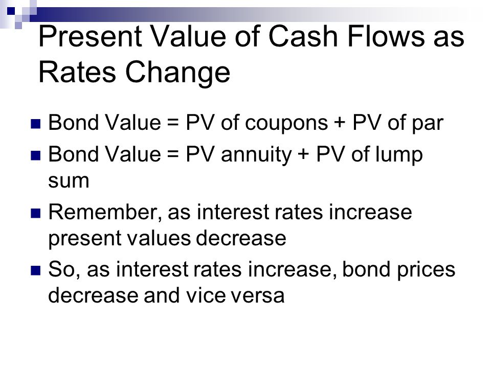 Present Value of Cash Flows as Rates Change Bond Value = PV of coupons + PV of par Bond Value = PV annuity + PV of lump sum Remember, as interest rates increase present values decrease So, as interest rates increase, bond prices decrease and vice versa
