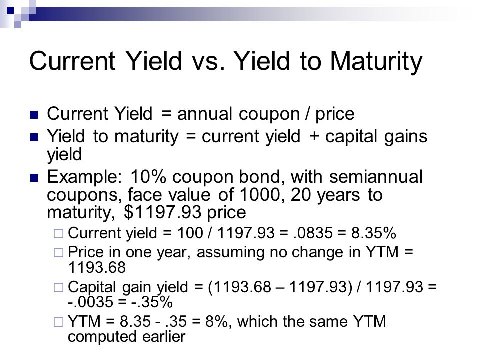 Current Yield vs.