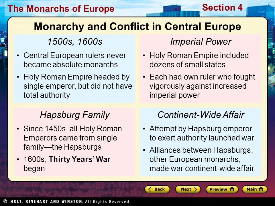 The Monarchs of Europe Section 4 1500s, 1600s Central European rulers never became absolute monarchs Holy Roman Empire headed by single emperor, but d