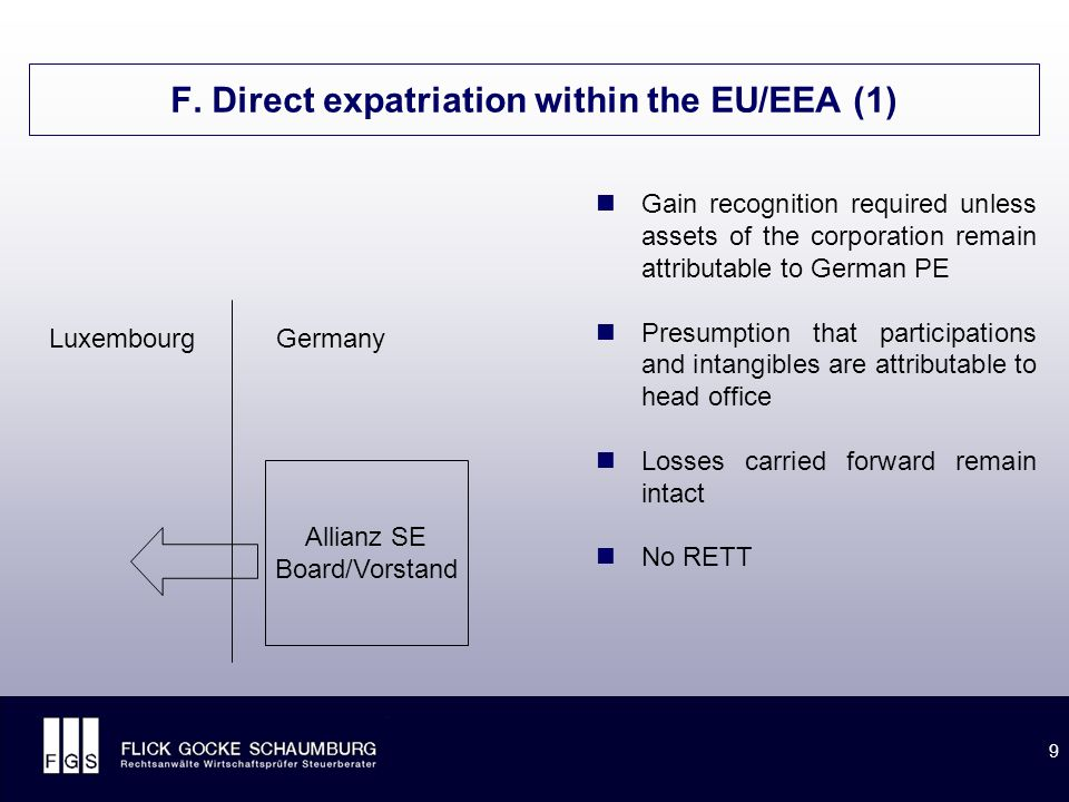 9 F. Direct expatriation within the EU/EEA (1) LuxembourgGermany Allianz SE Board/Vorstand Gain recognition required unless assets of the corporation