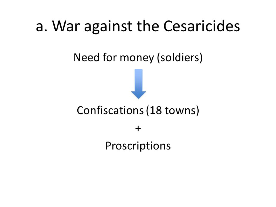 a. War against the Cesaricides Need for money (soldiers) Confiscations (18 towns) + Proscriptions