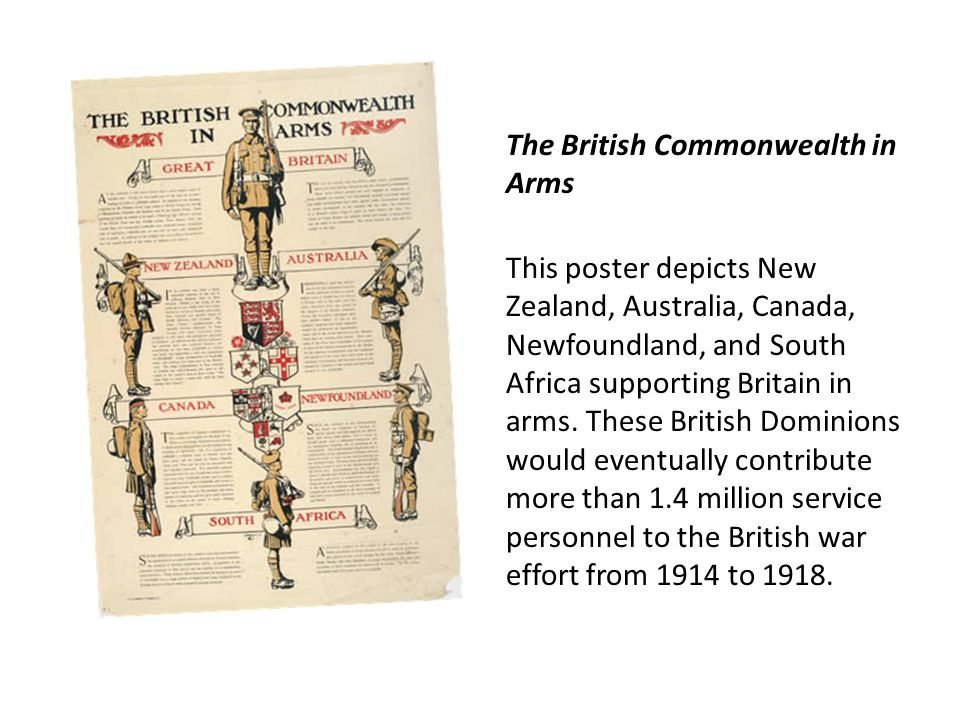 The British Commonwealth in Arms This poster depicts New Zealand, Australia, Canada, Newfoundland, and South Africa supporting Britain in arms.