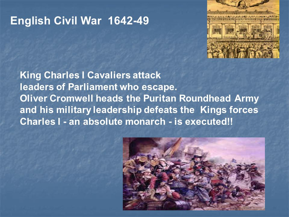 English Civil War 1642-49 King Charles I Cavaliers attack leaders of Parliament who escape.