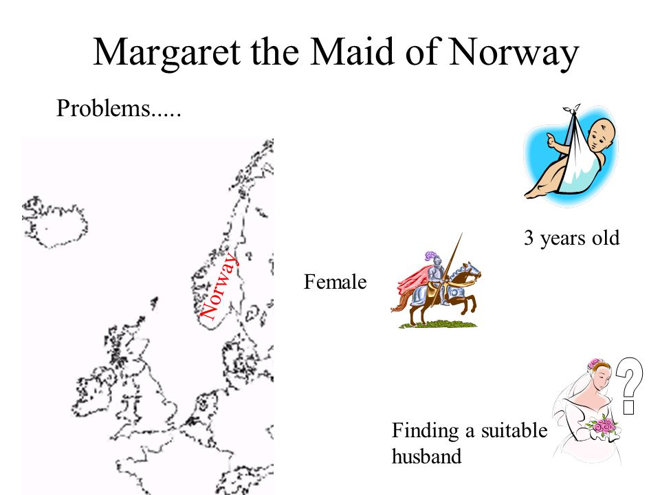 Margaret the Maid of Norway Problems..... Norway 3 years old Female Finding a suitable husband