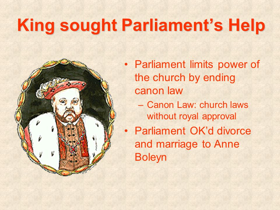 King sought Parliament's Help Parliament limits power of the church by ending canon law –Canon Law: church laws without royal approval Parliament OK'd divorce and marriage to Anne Boleyn