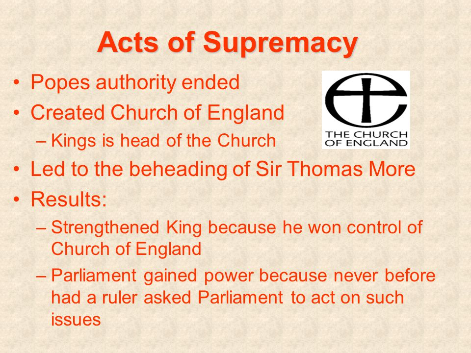 The Fate of Sir Thomas More More refused to take an oath supporting the Act of Supremacy Henry ordered More to beheaded More: I die the king's good servant, but God's first