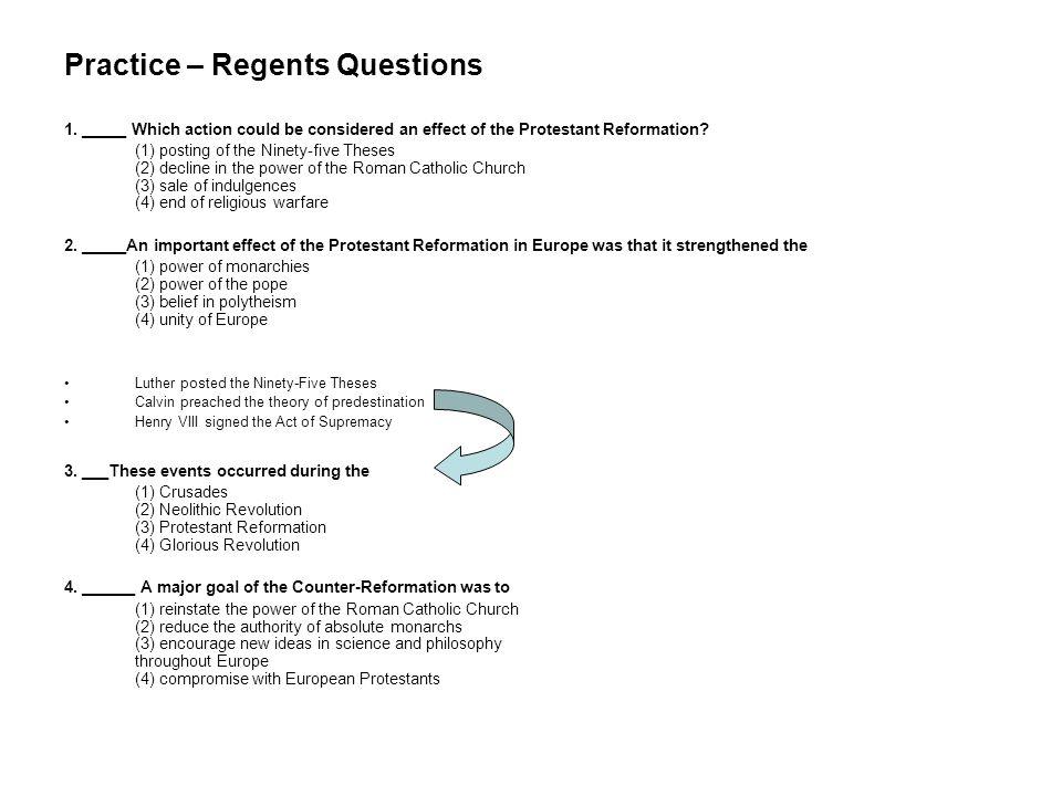 Practice – Regents Questions 1.