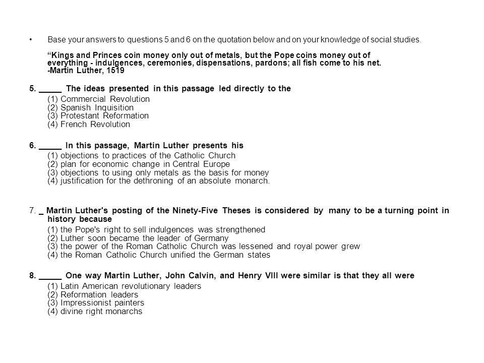 Base your answers to questions 5 and 6 on the quotation below and on your knowledge of social studies.