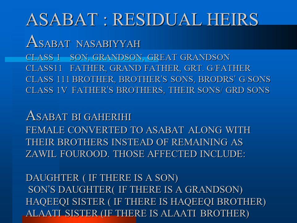 ASABAT : RESIDUAL HEIRS A SABAT NASABIYYAH CLASS 1 SON, GRANDSON, GREAT GRANDSON CLASS11 FATHER, GRAND FATHER, GRT. G/FATHER CLASS 111 BROTHER, BROTHE
