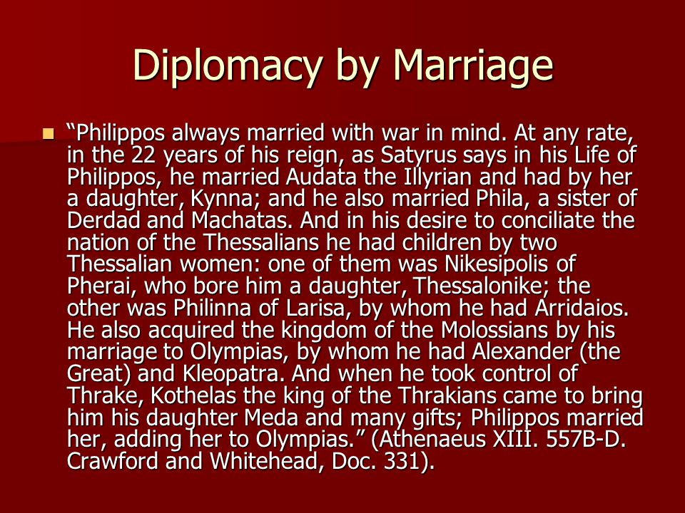 Diplomacy by Marriage Philippos always married with war in mind.