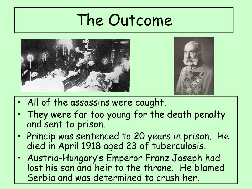 The Outcome All of the assassins were caught. They were far too young for the death penalty and sent to prison. Princip was sentenced to 20 years in p
