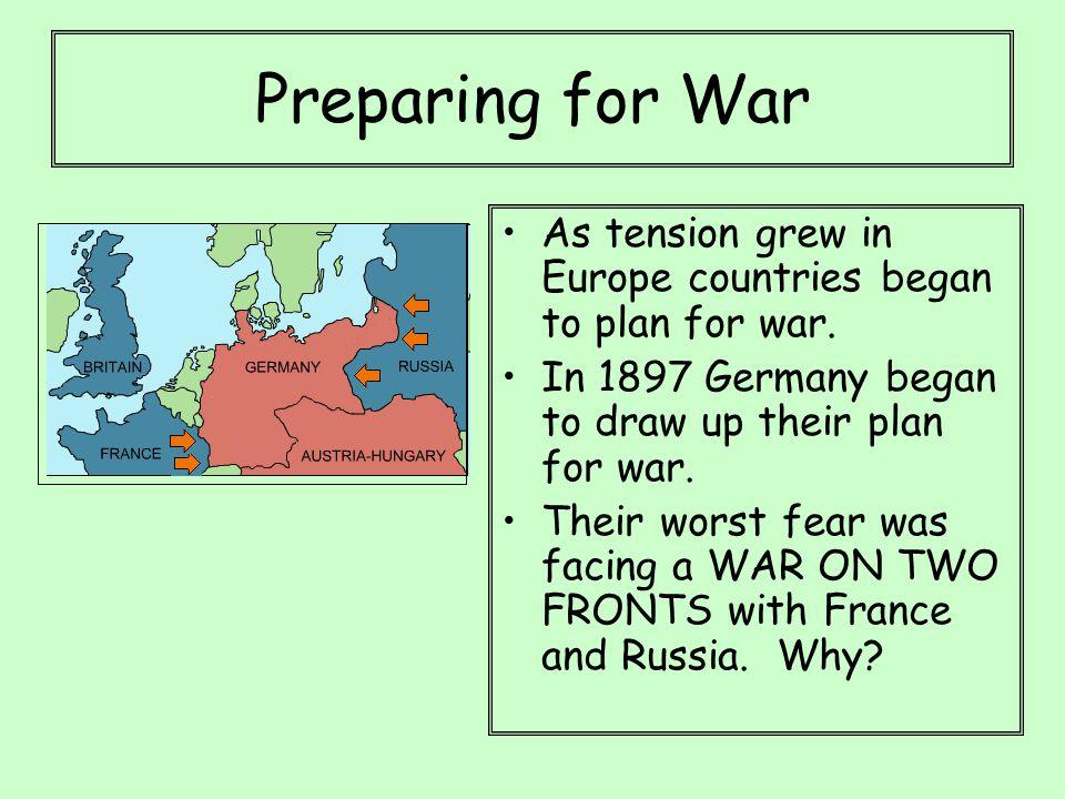 Preparing for War As tension grew in Europe countries began to plan for war.