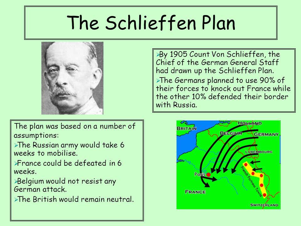 The Schlieffen Plan  By 1905 Count Von Schlieffen, the Chief of the German General Staff had drawn up the Schlieffen Plan.  The Germans planned to u