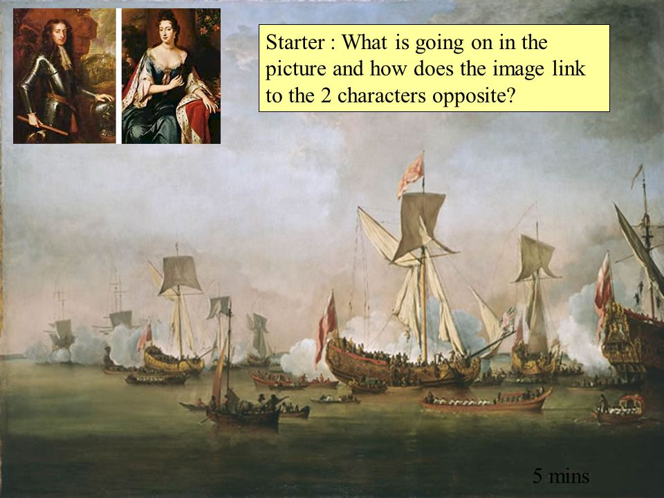 Starter : What is going on in the picture and how does the image link to the 2 characters opposite? 5 mins