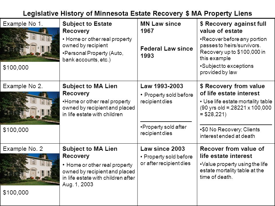 Legislative History of Minnesota Estate Recovery $ MA Property Liens Example No 1. $100,000 Subject to Estate Recovery Home or other real property own