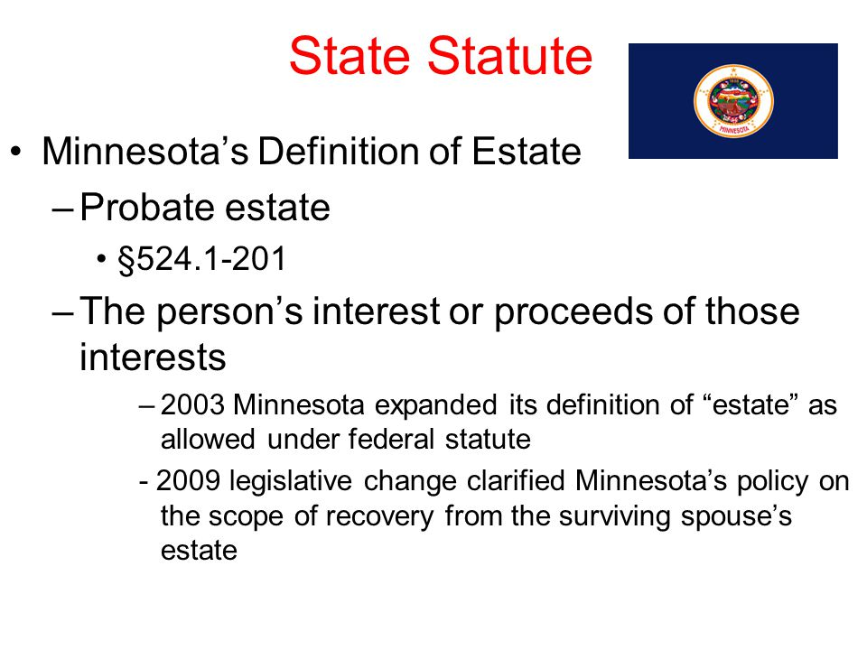 State Statute Minnesota's Definition of Estate –Probate estate §524.1-201 –The person's interest or proceeds of those interests –2003 Minnesota expand