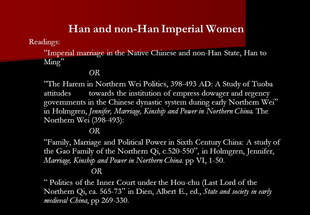 """Han and non-Han Imperial Women Readings: """" Imperial marriage in the Native Chinese and non-Han State, Han to Ming """" OR """" The Harem in Northern Wei Pol"""