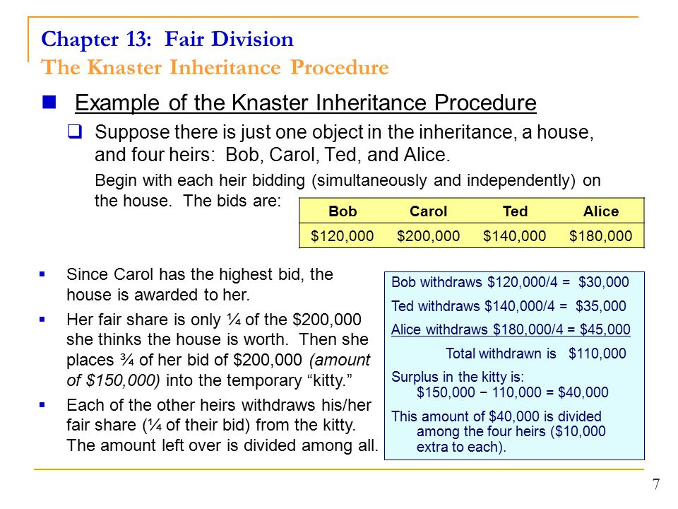 Chapter 13: Fair Division The Knaster Inheritance Procedure Example of the Knaster Inheritance Procedure  Suppose there is just one object in the inheritance, a house, and four heirs: Bob, Carol, Ted, and Alice.
