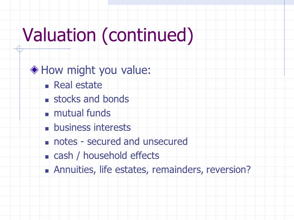 Valuation (continued) How might you value: Real estate stocks and bonds mutual funds business interests notes - secured and unsecured cash / household
