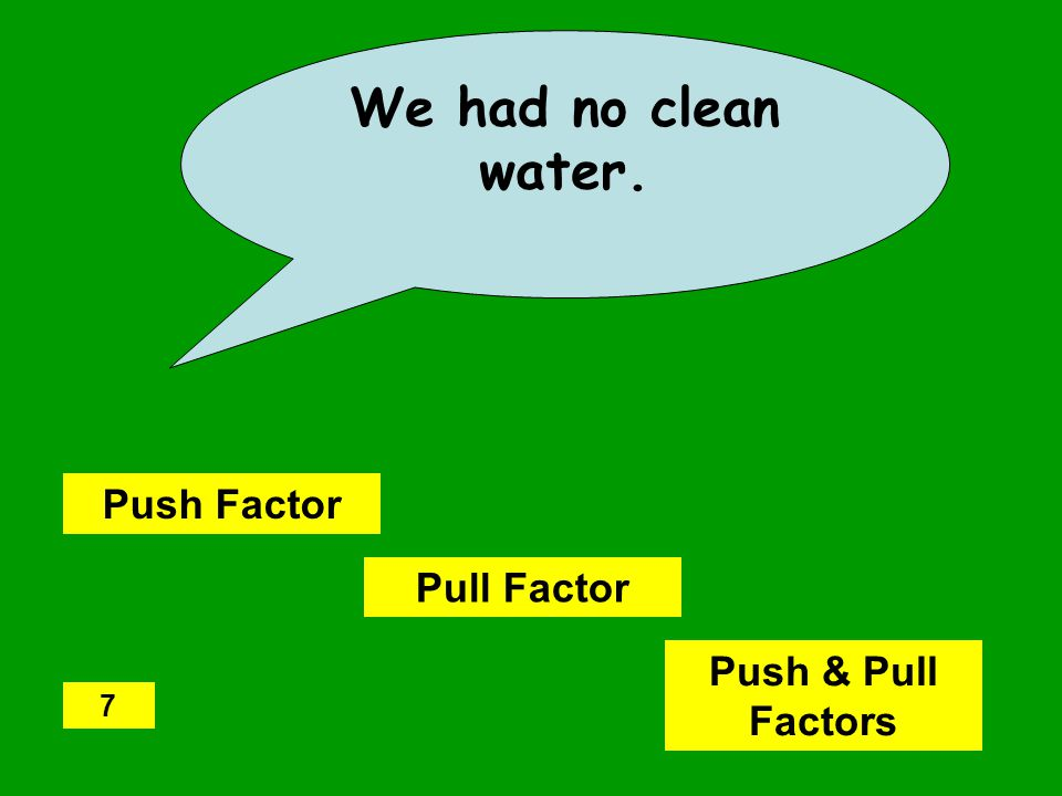 We had no clean water. Push Factor Pull Factor Push & Pull Factors 7
