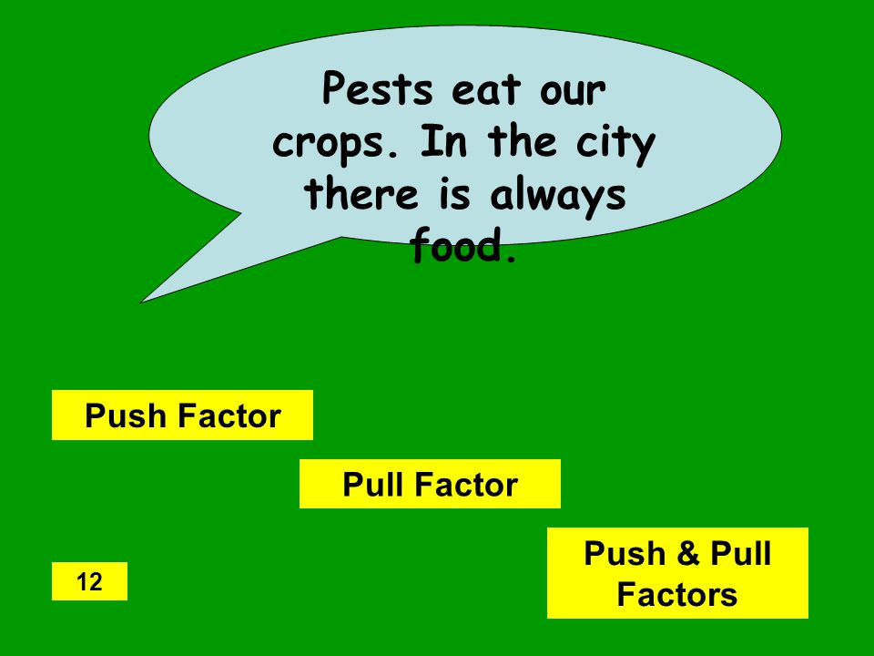 Pests eat our crops.In the city there is always food.