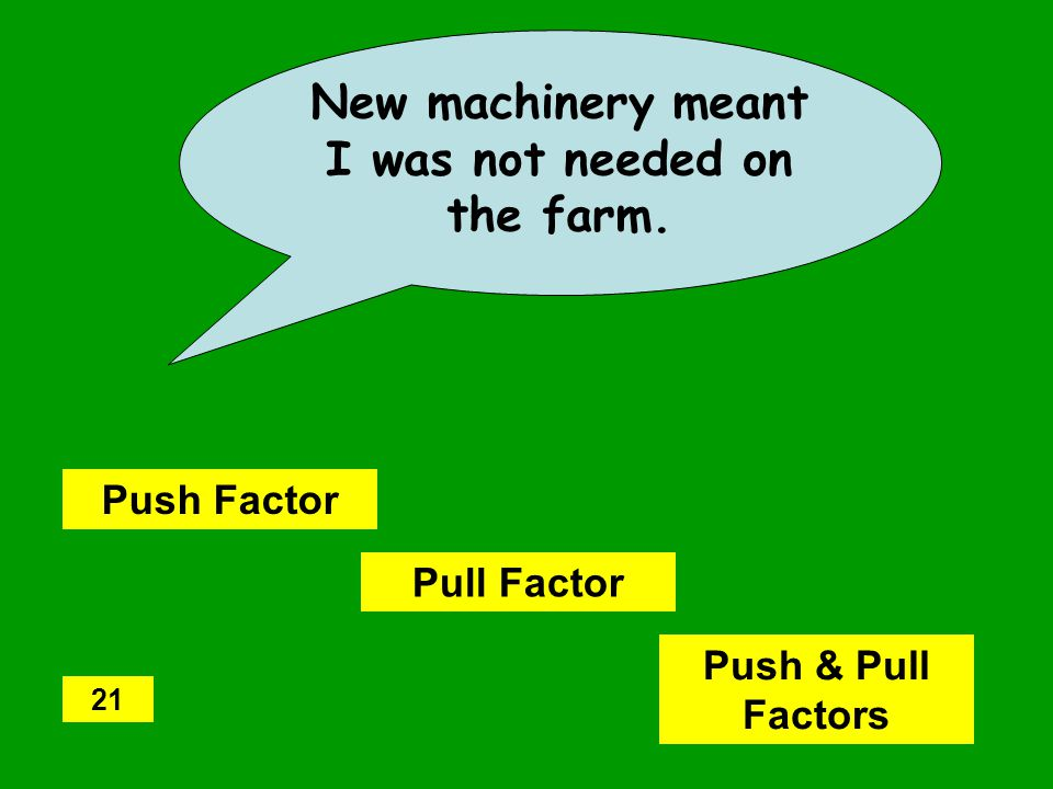 New machinery meant I was not needed on the farm. Push Factor Pull Factor Push & Pull Factors 21