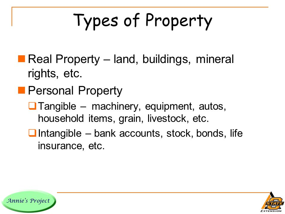 Types of Property Real Property – land, buildings, mineral rights, etc.