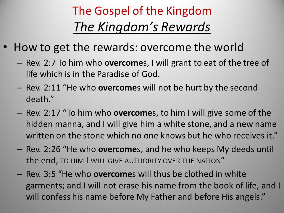 How to get the rewards: overcome the world – Rev.