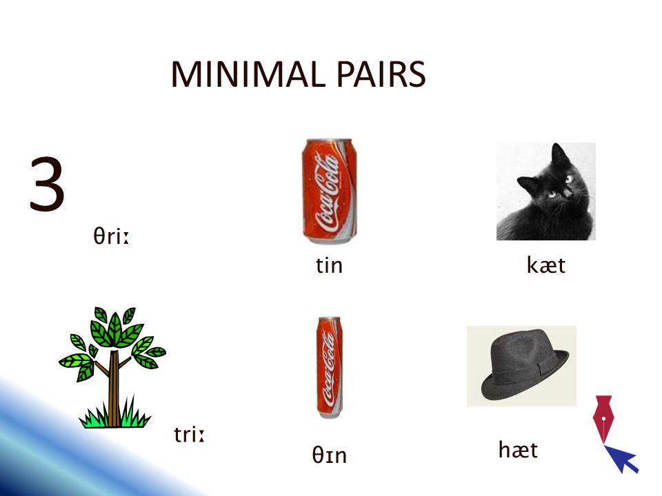 MINIMAL PAIRS 3 θriː tinkæt triː θɪn hæt