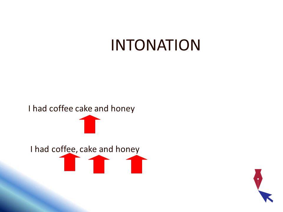 INTONATION I had coffee cake and honey I had coffee, cake and honey