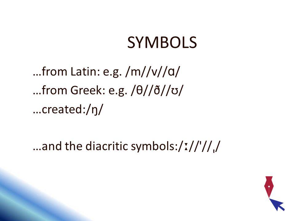 SYMBOLS …from Latin: e.g./m//v// ɑ / …from Greek: e.g.