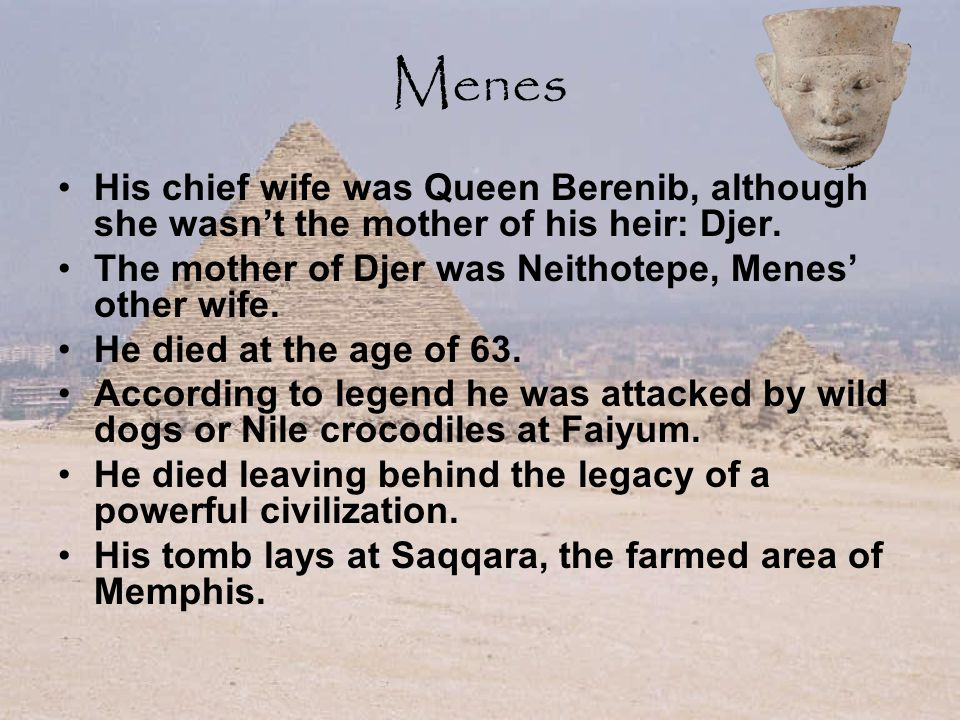 Menes His chief wife was Queen Berenib, although she wasn't the mother of his heir: Djer.