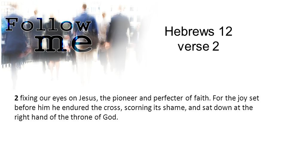 Hebrews 12 verse 2 2 fixing our eyes on Jesus, the pioneer and perfecter of faith.